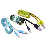 3-19 Multicolor USB AM TO MICRO Flat Cable